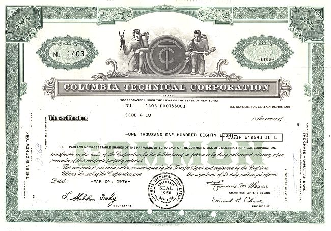 Columbia Technical Corporation historic stocks - old certificates