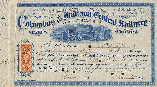 Columbus and Indiana Central Railway Company historische Wertpapiere - alte Aktien