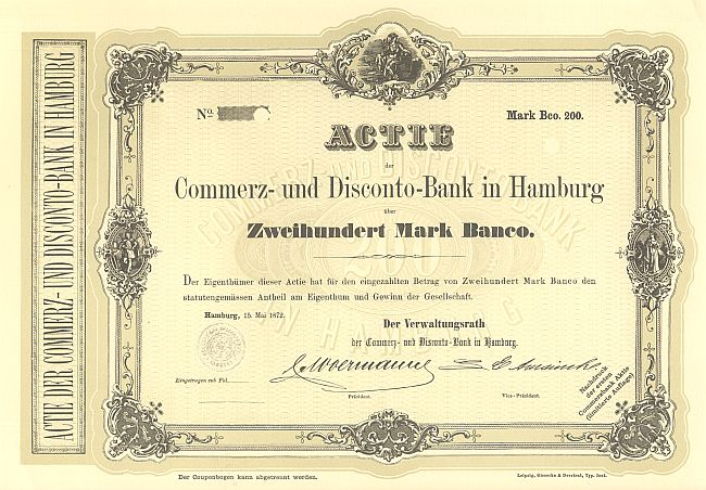 Commerz- und Disconto-Bank in Hamburg (Faksimiledruck der 1. Commerzbankaktie) historic stocks - old certificates