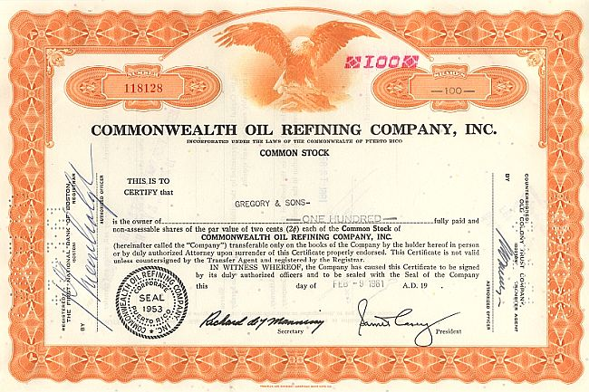 Commonwealth Oil Refining Company Inc. historic stocks - old certificates
