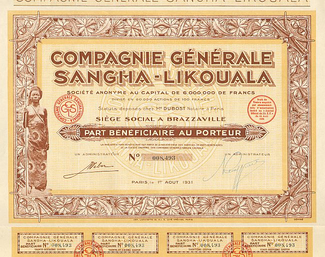Compagnie Générale Sangha-Likouala  historic stocks - old certificates
