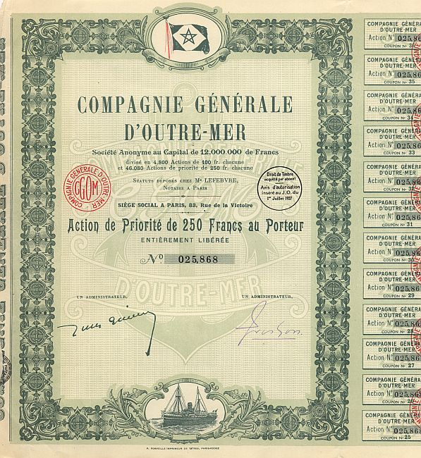 Compagnie Generale d'Outre-Mer historic stocks - old certificates