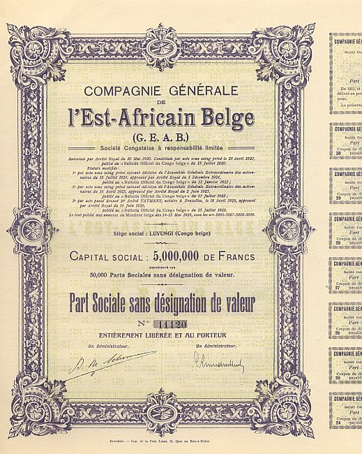 Compagnie Generale de l'East-Africain Belge historic stocks - old certificates