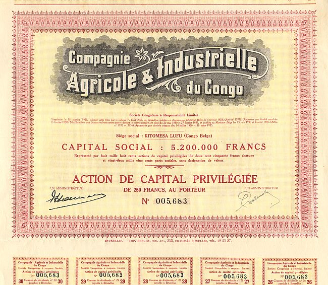 Compagnie Agricole & Industrielle du Congo historic stocks - old certificates