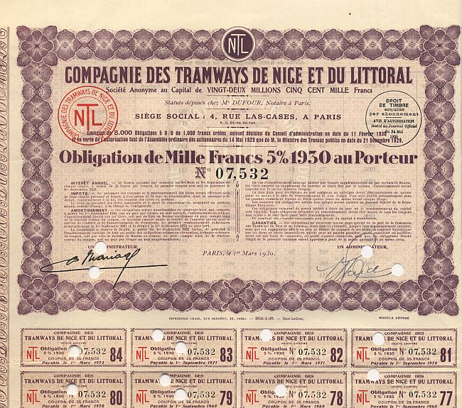 Compagnie des Tramways de Nice et du Littoral (NTL) historic stocks - old certificates