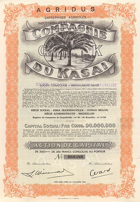 Compagnie du Kasai historic stocks - old certificates