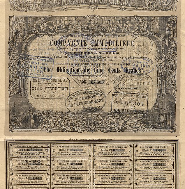 Compagnie Immobiliere historic stocks - old certificates