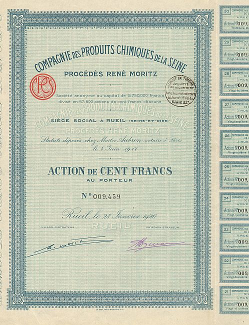 Compagnie des Produits Chimiques de la Seine (Procédés René Moritz) -  historic stocks - old certificates Oil and Chemicals