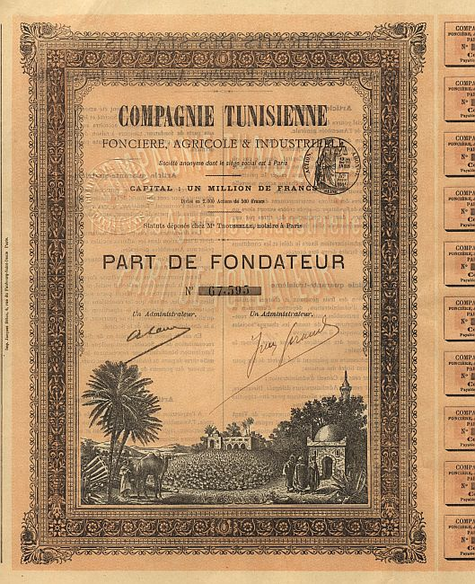 Compagnie Tunisienne Fonciere, Agricole & Industrielle historic stocks - old certificates