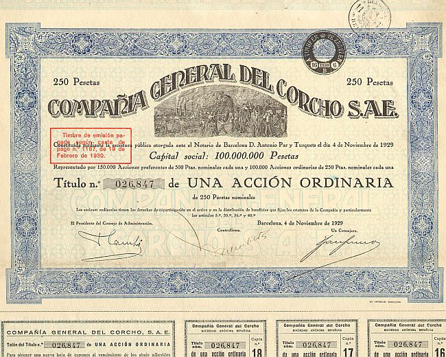 Compania General Del Corcho S.A.E. -  historic stocks - old certificates Others