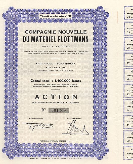 Compagnie Nouvelle du Material Flottmann historic stocks - old certificates