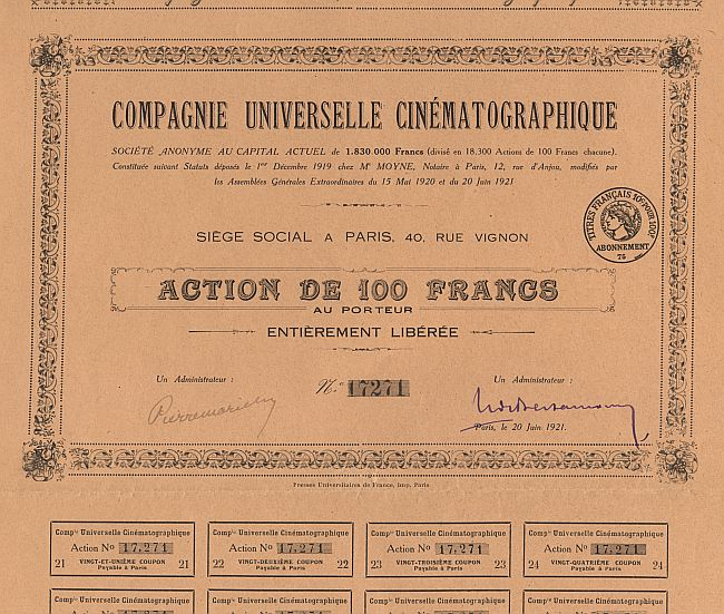 Compagnie Universelle Cinematographique historic stocks - old certificates