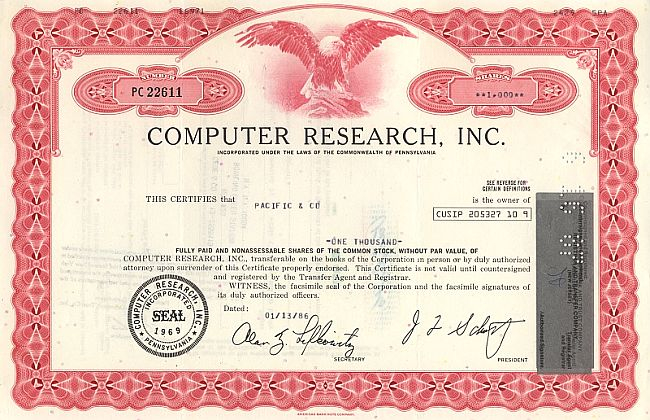 Computer Research Inc. historic stocks - old certificates