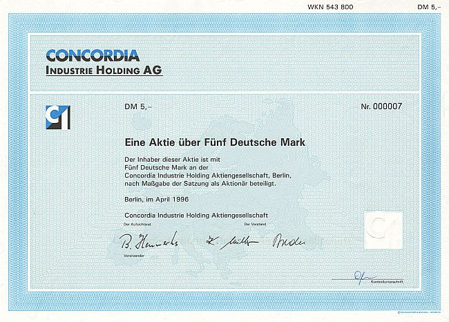 Concordia Industrie Holding A.G. historic stocks - old certificates