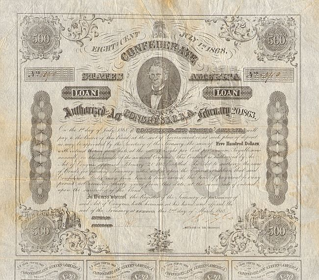 Confederate States America Loan (CSA) historic stocks - old certificates