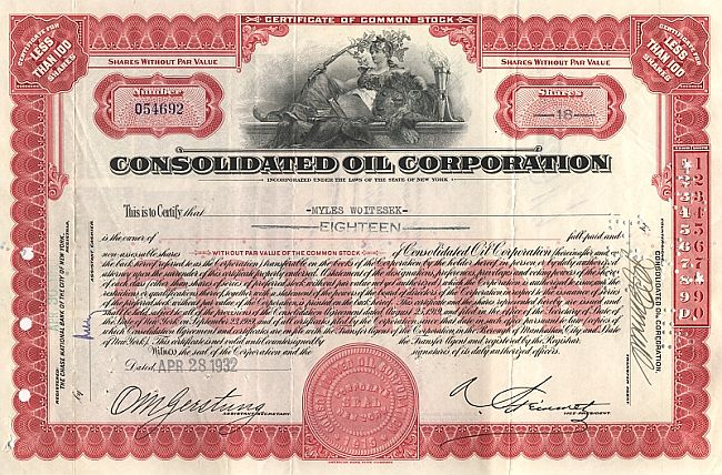Consolidated Oil Corporation historic stocks - old certificates