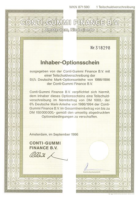 Conti-Gummi Finance B.V historic stocks - old certificates
