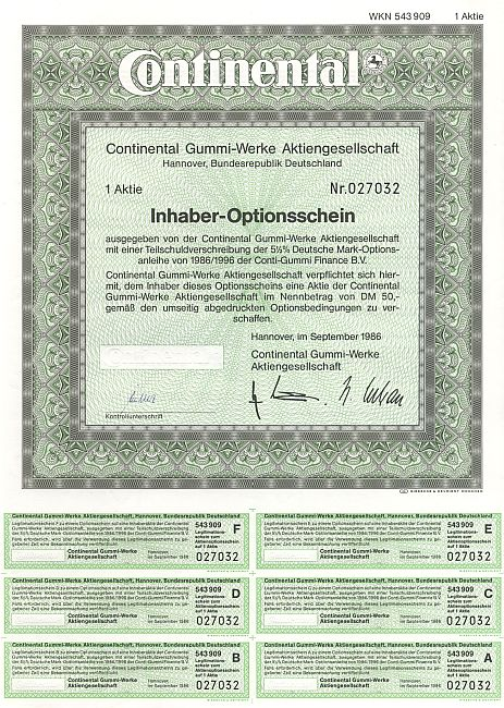 Continental Gummi-Werke Aktiengesellschaft historic stocks - old certificates