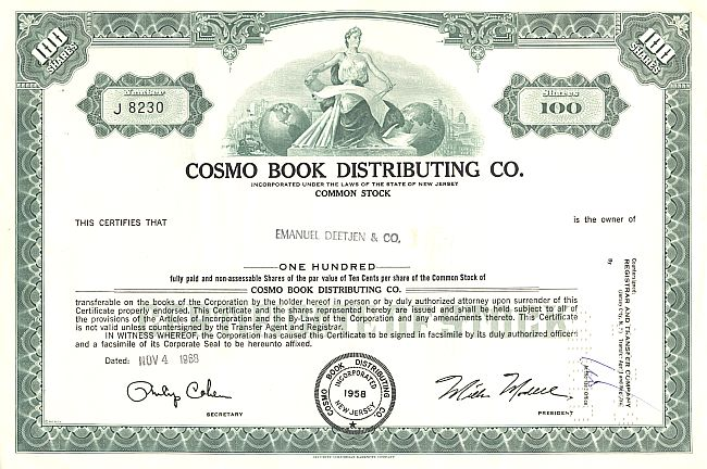 Cosmo Book Distributing, Inc. historic stocks - old certificates