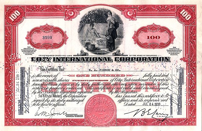 Coty International Corporation historic stocks - old certificates