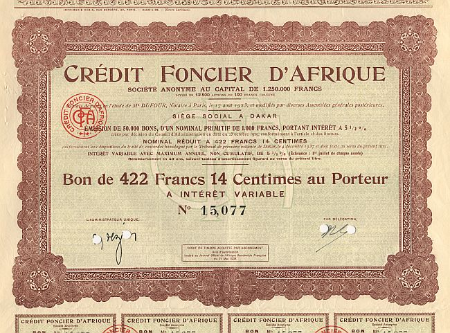 Credit Foncier d'Afrique historic stocks - old certificates