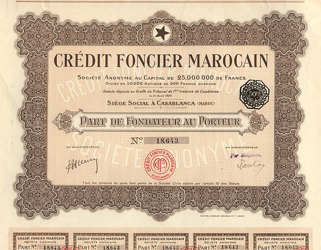Credit Foncier Marocain historic stocks - old certificates