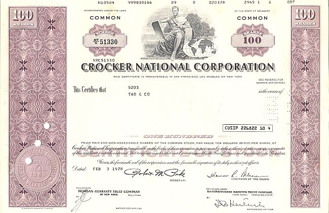 Crocker National Corporation historic stocks - old certificates