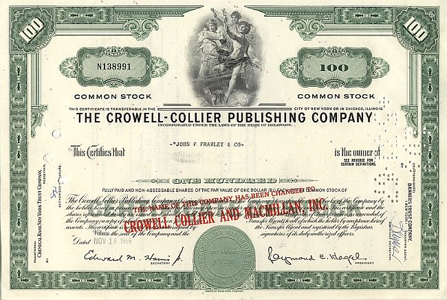 Crowell-Collier Publishing Company historic stocks - old certificates