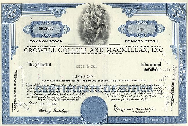 Crowell Collier and Macmillan Inc. historic stocks - old certificates