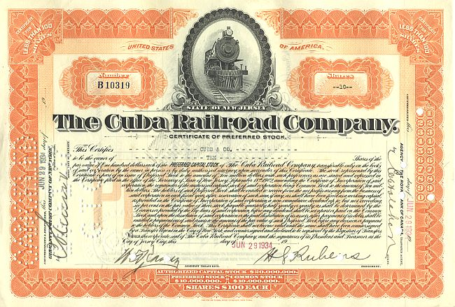 Cuba Railroad Company historic stocks - old certificates
