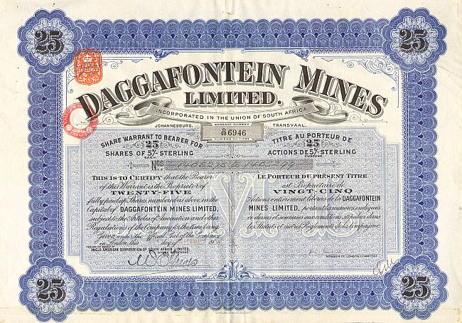 Daggafontein Mines Limited historic stocks - old certificates