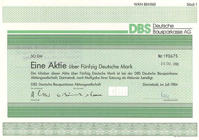 DBS Deutsche Bausparkasse AG historic stocks - old certificates