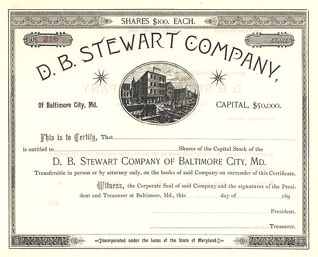D.B. Stewart Company historic stocks - old certificates