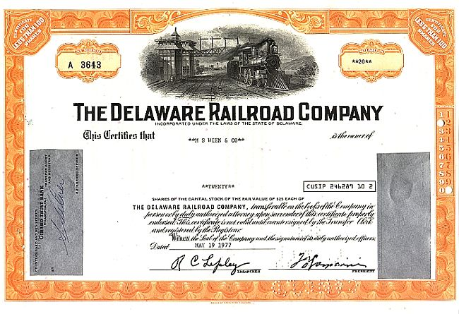 Delaware Rail Road Company historic stocks - old certificates