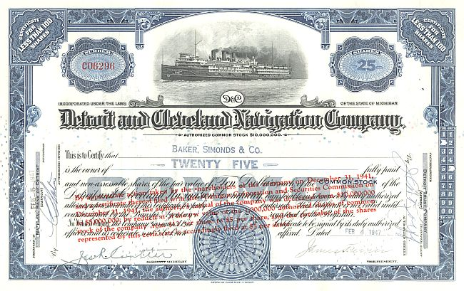 Detroit and Cleveland Navigation Company historic stocks - old certificates