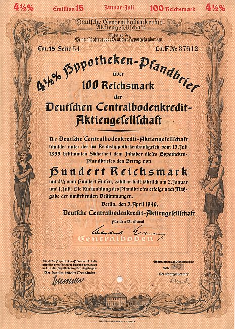 Deutsche Centralbodenkredit-Aktiengesellschaft (April 1940) historic stocks - old certificates