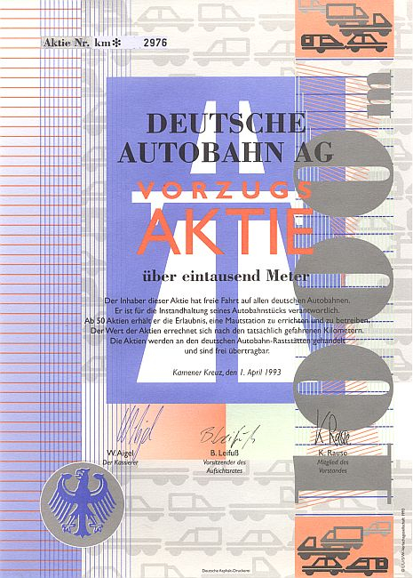 Deutsche Autobahn AG historic stocks - old certificates