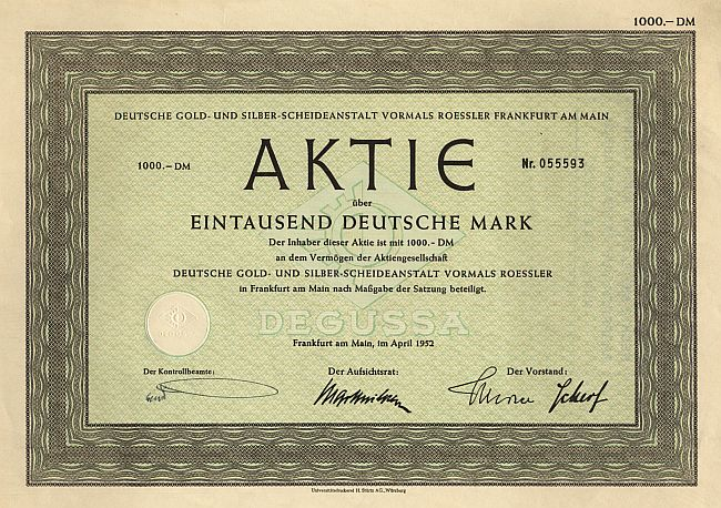 Deutsche Gold- und Silber-Scheideanstalt vormals Roessler historic stocks - old certificates