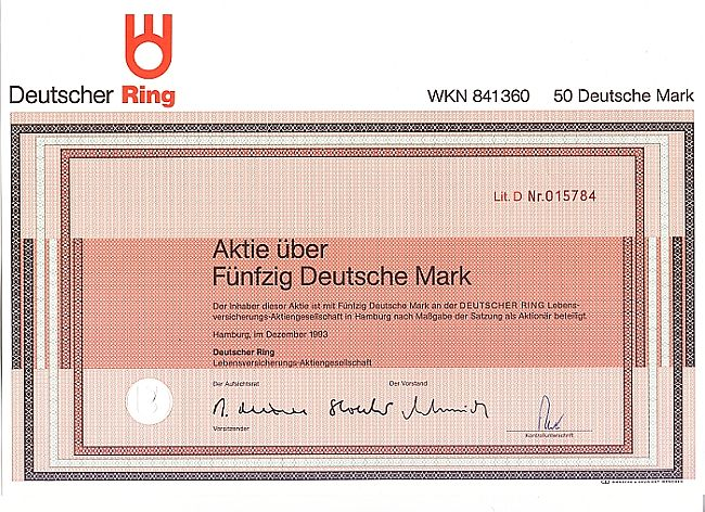 Deutscher Ring historic stocks - old certificates