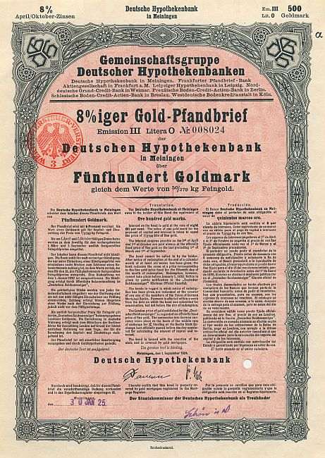 Deutsche Hypothekenbank in Meiningen (1924) historic stocks - old certificates