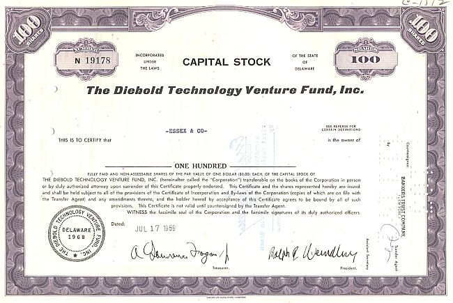 Diebold Venture Capital Corporation historic stocks - old certificates