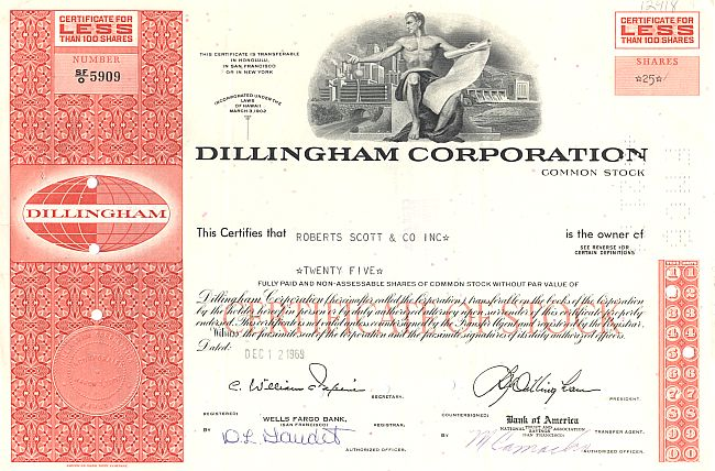 Dillingham Corporation historic stocks - old certificates