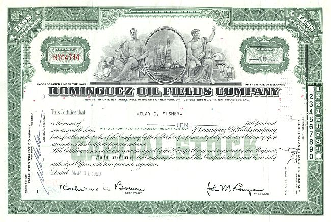 Dominguez Oil Fields Company historic stocks - old certificates