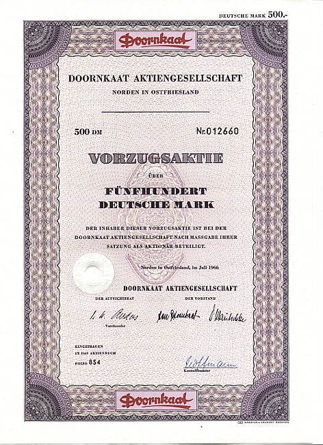Doornkaat Aktiengesellschaft historic stocks - old certificates