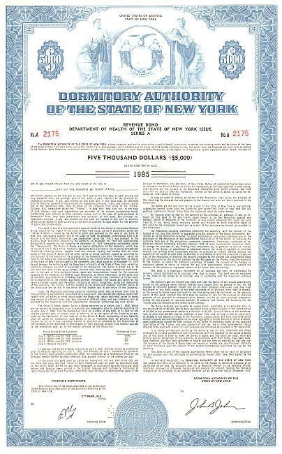 Dormitory Authority of the State of New York historic stocks - old certificates