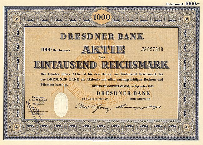 Dresdner Bank (mit Coupons) historic stocks - old certificates