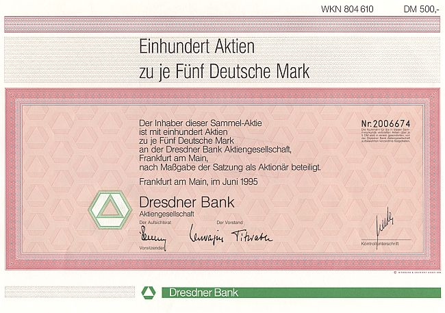 Dresdner Bank historic stocks - old certificates
