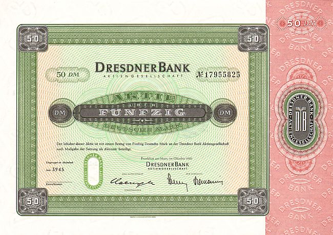 Dresdner Bank (1983)  historic stocks - old certificates