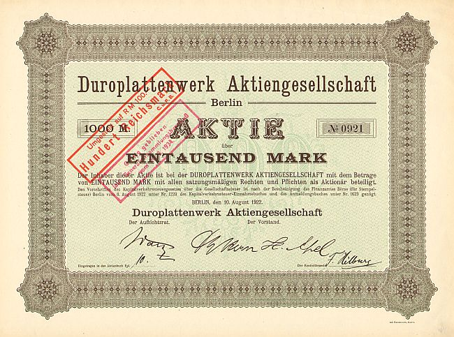 Duroplattenwerk Aktiengesellschaft (nicht entwertet) -  historic stocks - old certificates Hotels and Real Estate