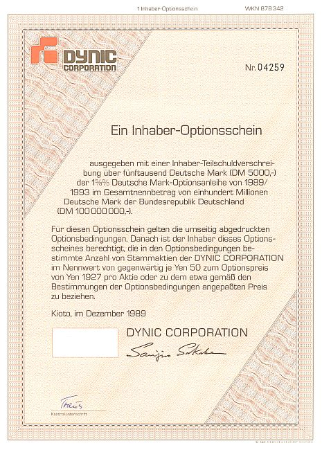 Dynic Corporation historic stocks - old certificates